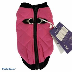 Gooby Dog Vest Sz XS Pink Black Quilted and Knit Zip Up 75002 Fashion Vest NWT