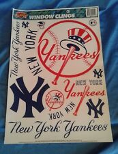 New York Yankees MLB Window Clings Decal Sheets Unused Reusable 1990's 11 X 17