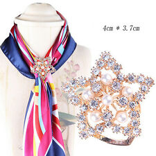 Silver Gold Crystal Silk Scarf Clip Buckle Holder Brooch Pins Jewelry Gift UV