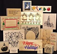 U Pick Christmas Themed Rubber Stamp Singles Candle Snowman Poinsettia Snowflake