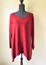 Jessica London Woman 14/16 Red Asymmetric Hem Cotton Cashmere Sweater