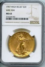 1907 $20 St Gaudens Double Eagle Gold Coin NGC MS63 Wire Rim High Relief JX851