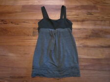 LULULEMON RUN BACK ON TRACK TANK SIZE 6 BLACK AND STATIC