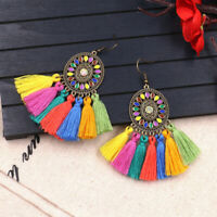 Womens Fashion Bohemian Vintage Long Tassel Fringe Boho Dangle Earrings Jewelry