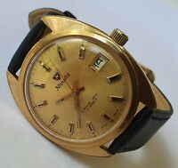 Vintage NIVADA Compensamatic 10M Gold 17J Date AS-ST1950/51 Swiss From 60's