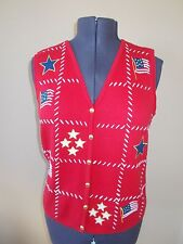 Crazy FLAG PATRIOTIC Ugly Christmas Sweater Party VEST WOMENS LARGE