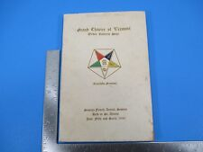 Vintage 1946 74th Annual Session Grand Chapter of Vt Order of Eastern Star S3607