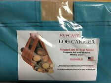Teal Log Tote Fireplace Holder Wood Firewood Canvas Carrier Caddy Carry Bag