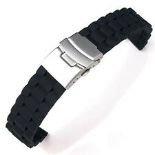 20mm BLACK RUBBER DIVERS WATCH BAND STRAP with Stainless Steel DEPLOYMENT BUCKLE
