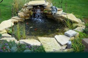 Custom Pro Complete Pond Water Garden Kit With Waterfall - 5' x 6'