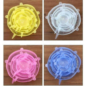 6pcs Reusable Silicone Stretch Lids Wrap Bowl Seal Cover Kitchen Keep Food Fresh
