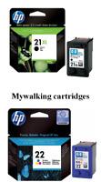 GENUINE ORIGINAL BARGAIN HP 21XL BLACK + HP 22 COLOUR INK CARTRIDGES FASTPOSTAGE