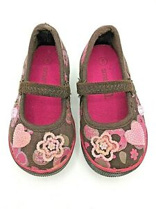 Smartfit LIGHT-UP Mary Jane Toddler Shoes - Brown Suede w/ Pink Flowers Size 5