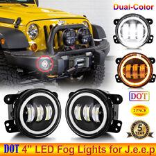 "Pair 4"" DOT LED Fog Lights Dual Colors Halo Angel Eye for Jeep Wrangler Compass"