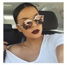 Oro Rosa-Reflectante-con Espejo-Aviador Mujer Gafas de sol mirada Celebrity