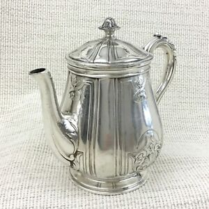 Christofle Silver Plated Teapot Villeroy Bachelor Pot Antique French Art Nouveau