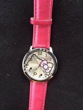 Kids Girls Hello Kitty Dark Pink Wrist Watch Analog Leather Strap Steel Back B