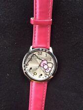 Kids Girls Hello Kitty Dark Pink Wrist Watch Analog Leather Strap Steel Back B