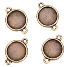 60pcs New Arrival Antique Bronze Round Charms Copper Connector Findings Lots J