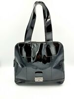 Veronika Maine Large Black Patent Leather Shoulder Handbag