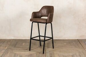 BROWN FAUX SUEDE UPHOLSTERED BAR STOOLS 76CM BREAKFAST BAR STOOLS RETRO STYLE