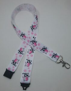 Pink cute cow flower ribbon lanyard safety clip ID badge holder student gift