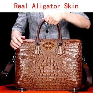 100% Real Thai Alligator Skin Men's Luxury Business Briefcase Handbag Large Bag