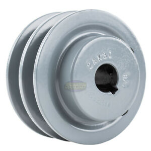 BUSHING INCLUDED Double Groove 3.45 Cast Iron Electric Motor H Pulley//Sheave 2 Groove Pulley 0.625 Bore 5//8 Shaft For 3//8 and 1//2 Top Width 3L // A//AK // 4L // 4LK Section V Belts