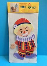 VINTAGE GRUNER WITKOP WOODEN CLOWN JUMPING JACKS WALL DECORATION NEW 1980s RARE