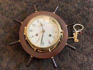Vintage Schatz Royal Marine Wind Up With The Key Ship Clock