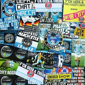 100 x City Ultra Style Stickers inspired by Manchester Man Programme Oasis Hat