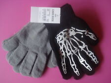 BOYS YOUTH WINTER STRETCH GLOVES SKELETON HANDS BLACK/GRAY SET 2 NEW