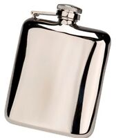 6oz Rounded Traditional Hip Flask Gift Box & Funnel FREE ENGRAVING CLEARANCE