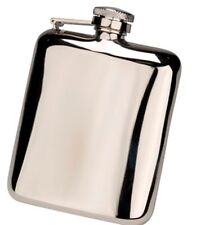 6oz Rounded Kidney Traditional Hip Flask Gift Box & Funnel FREE ENGRAVING