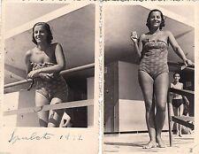 # SPALATO SPLIT 1942- FANCIULLA IN UNO STABILIMENTO BALNEARE - 2 fotocartoline