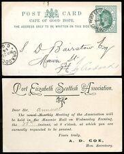 CAPE of GOOD HOPE 1894 QV STATIONERY CARD...PORT ELIZABETH SCOTTISH ASSOCIATION