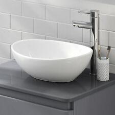 Modern Bathroom Counter Top Ceramic White Basin Cloakroom Gloss Wash Sink 400mm