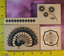 Stampin' Up! WORLD TREASURES peacock flowers patterned border EUC rubber stamps