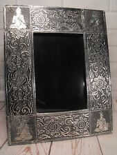 BUDDHA PHOTO FRAME SILVER METAL 6 BY 4 INCH PHOTO ORIENTAL CONTEMPORARY STYLE