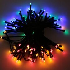 10M,100L LED Solar Powered Waterproof Black Line Wire Christmas String Light