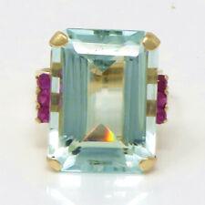 NYJEWEL 10k Yellow Gold Large 20.5ct Aquamarine Ruby Ring Size 6