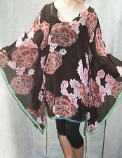 "WHISTLES Pure Silk KAFTAN Top FLORAL Tunic 52"" BUST LARGE FIT 16 - 20 HIPPY BOHO"
