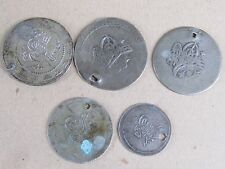 LOT 5 ANTIQUE OTTOMAN SILVER COINS WITH HOLES -19s c