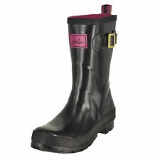 Joules Kelly Welly Black Gloss Ladies Mid Calf Wellies Various Sizes 6 UK