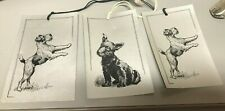 """3 Vintage Scottie Dog Silver Paper Hang Tag Score Cards Silver Background 3 3/4"""""""