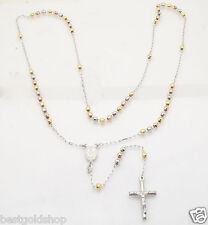 """24"""" 4mm Diamond Cut Rosary Rosario Chain Necklace Real TriColor Sterling Silver"""