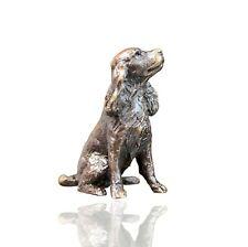 More details for spaniel dog sitting bronze miniature sculpture - butler & peach 2077