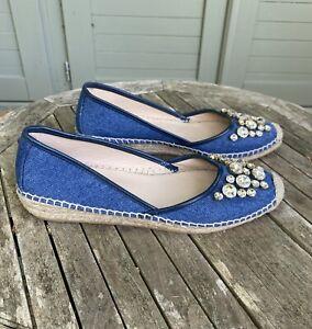 Russell Bromley Blue Denim Embellished Espadrille Sandals Size 40