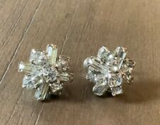 Vintage Silver Clear Glass Rhinestone Screw Back Earrings Classic 40's Estate