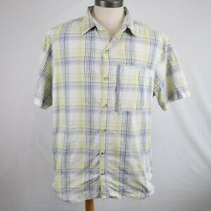 Columbia Omni-Wick Men's White Plaid Short Sleeve Vented Hiking Shirt Size XL